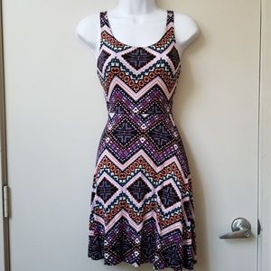 Express Fit and Flare Geometric Dress